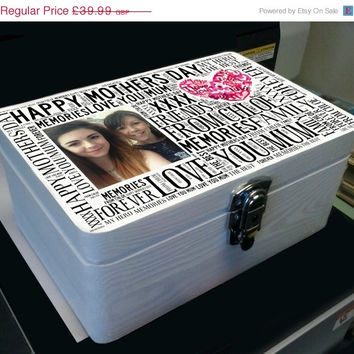 On sale Handmade large personalised wooden jewellery memory box any photo and wording printed happy Mothers day gift