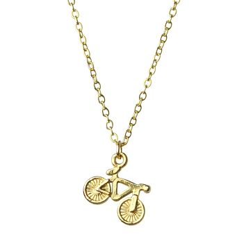 Mini Bicycle Gold Charm Necklace