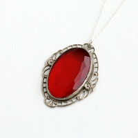 Antique Art Deco Floral Filigree Red Glass Stone Necklace- Vintage 1920s 1930s Sterling Silver Jewelry