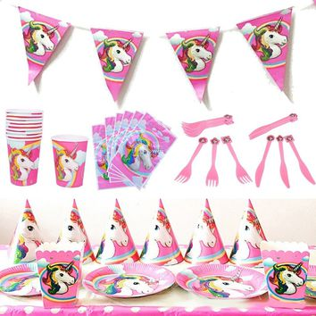 Pink Unicorn Theme Kids Tableware Knife Fork Decor Candy Box Birthday Party Supplies Children Home Dinner Ornament