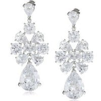 "Amazon.com: CZ by Kenneth Jay Lane ""Trend"" 20 Cttw 1.75"" Drop Cubic Zirconia Pear Earrings: Jewelry"