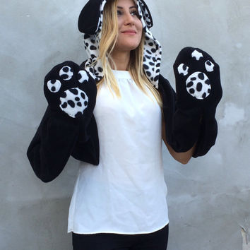 Dog Hooded Scarf, Dalmation Hooded Scarf, Animal Hooded Cowl, Hoodie Scarf, Black White Polar Fleece Neckwarmer, Soft Dog Ears Pattern Scarf