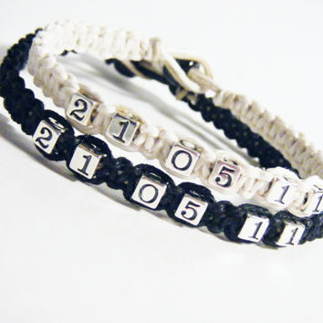 Save the Date Couples Bracelets Sterling Silver Numbers Set of 2