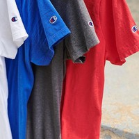 Champion Classic three-dimensional embroidered short-sleeved T-shirt for men and women couples