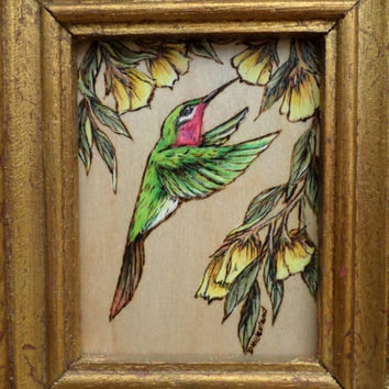 Woodburning Pyrography hummingbird small wall accent picture