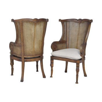 Caned Wing Back Chairs In New Signature Stain - Set of 2 New Signature Stain