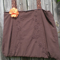 soft romantic brown cotton tote bag with flower accent, autumn colors