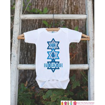 First Hanukkah Onepiece, Hanukkah Outfit, Baby's First Hanukkah Shirt with Star of David for Newborn Baby Boy or Baby Girl Hanukkah Gift