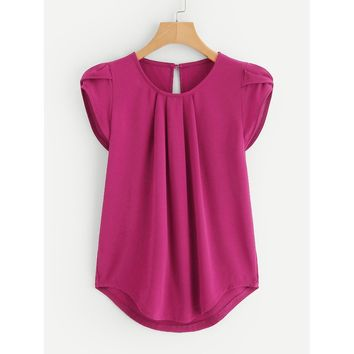 Petal Sleeve Pleated Detail Curved Hem Blouse