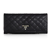 Prada - Quilted Saffiano Continental Wallet - Saks Fifth Avenue Mobile