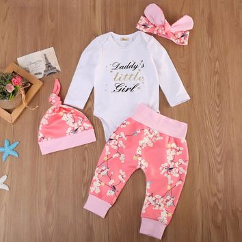 4 Pcs Baby Girls Daddy's Little girl Floral Outfit Set