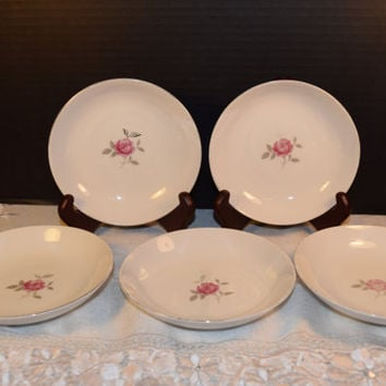 Gildhar Petite Rose Bowls Set of 5 Vintage Fine Porcelain China Petite Rose Pattern Made in Japan Holiday Dinnerware Shabby Chic Dishes