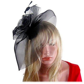 SACASUSA Fascinator Hat Feather Mesh Gauze Cocktail Hat Headwear Pill Box Hair Clip