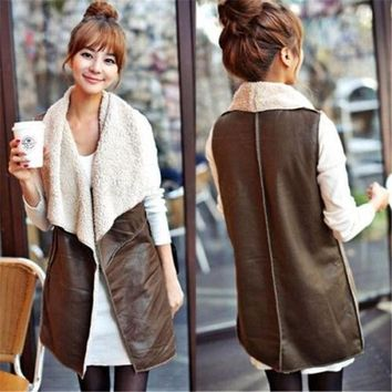 PEAPUNT Brown Women's Fleece PU Leather Sleeveless Vest Jacket Gilet Coat Waistcoat