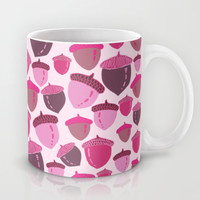 Acorns Autumn Mauve Mug by Lisa Argyropoulos