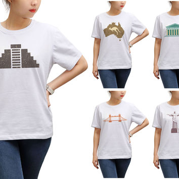 Women Symbols of countries Graphic Print Short Sleeves T-shirt WTS_17