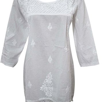 Women's Cotton Tunic White dress Embroidery Crochet Lace edging Blouse (Medium1)