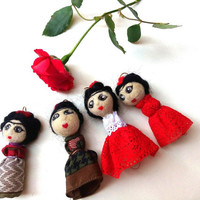 Frida doll pendant, minidoll Frida Khalo inspired necklace, to be hang on a chain or a cord.