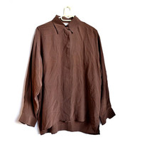 Brown Silk Blouse Womens Vintage Button Up Large L XL