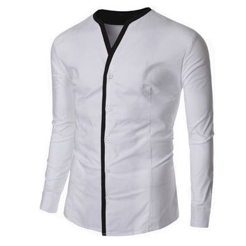 Men's Designer Fashion Shirt with No Collar