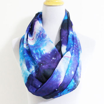 Blue Galaxy Infinity Scarf Infinity scarf with galaxy print Silky Scarf with Galaxy Pattern
