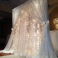FefeLightup LED Backdrop Lights String Curtain lights 8-MODES 9.8 feet 304 LEDS (WARM WHITE)