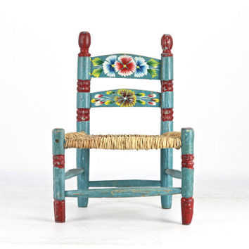 Vintage Folk Art Child's Chair, Vintage Boho Child's Chair, Vintage Hand Painted Chair, Vintage Boho Nursery Decor, Boho Decor, Hippie Baby