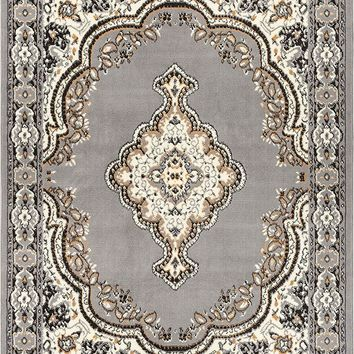 5084 Gray Medallion Traditional Area Rugs