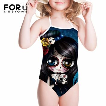 Girls Swimsuit Children Bikini One Piece Swimwear Cartoon Skull Girl Printing Kids Bathing Suit Beachwear