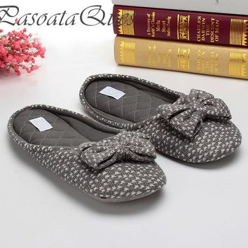 Cute Bowtie Home Slippers Women House Shoes Girls For Bedroom Adult Female Slippers Wa