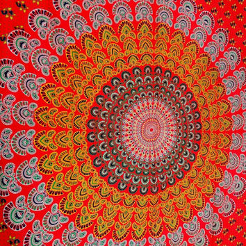 Mandala Psychedelic Tapestries, Indian Bohemian Bedspread, Hippie Wall Hanging, Tapestry Bed cover, Red Color Theme, Indian Tapestry Bedding