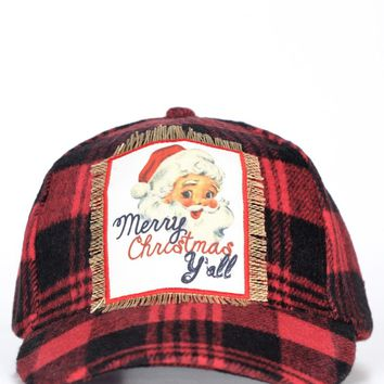 Merry Christmas Y'all Flannel Hat