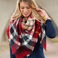 Navy and Garnet Blanket Scarf