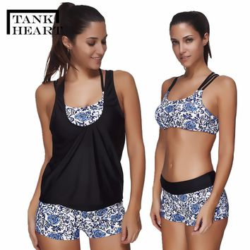 Tank Heart Bathers 2018 Swimsuit With Shorts Tankini Set Bathing Suit 3 Pieces Swimwear Women Plus Size May Female Beach Biquine