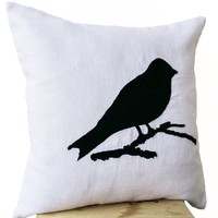 Decorative Throw Pillow Cover with Colorful Bird Embroidered on White Linen - Handmade Linen Sofa Pillow Cover - Bird Theme Accent Pillow Cover - Couch Cushion 16 X 16