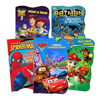 Bendon Toddler Board Book Assortment (Set of 5 Toddler Books) ~ PAW Patrol, Batman, Spiderman, Disney Cars, Toy Story