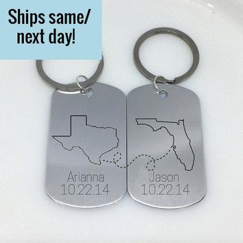 Friendship Keychain, Long Distance Relationship, Long Distance Keychain, Any States or Country, Engraved Keychain, Deployment Keychain