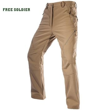 FREE SOLDIER Outdoor Sport Camping Hiking Military Tactical Pants Men's Soft-Shell Fleece Fabric,Instant Waterproof Pant