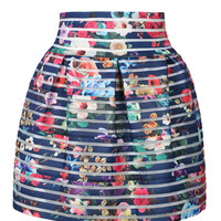 Blue Floral Sheer High Waisted Bubble Skirt