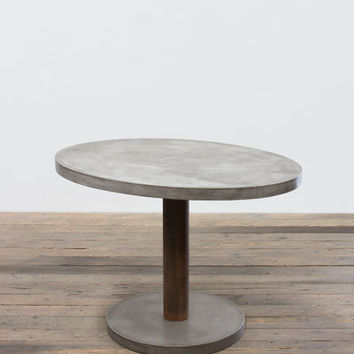 Oval Concrete Dining Table With Rustic Metal Pedestal & Concrete Base