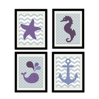 "Sea Themed Nursery Print Set. Whale. Starfish. Seahorse. Anchor. Baby Girl. Nursery. Baby shower. Kids Bathroom. Set of 4. 8.5x11"" Print."