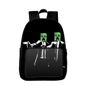 2017 Popular Polyester 16-inches Black Printing Cartoon MineCraft Women Backpack Boys Schoolbag Kids School Bags for Children