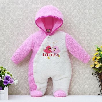 newborn hoodie autumn and warm winter girls one piece romper long sleeve boys clothes coral fleece baby rompers