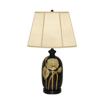 """Beautiful Porcelain Blooming Flower Floral Table Lamp 29"""" with Shade"""