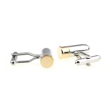 Fashion Clothing Accessories Bullet Style Two-tone Metal Cufflinks Color Gold / Silver Plated