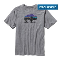 Patagonia Men's Fitz Roy Bison Organic Cotton T-Shirt | Gravel Heather