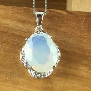 1.00 CT Created Fire Opal & Genuine Diamond Platinum and 925 Sterling Silver Pendant