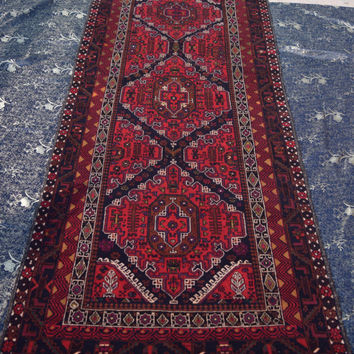 Size- 9.1x3.9ft Afghan Baluch rug runner, traditional rug, tribal rug, hand knotted rug