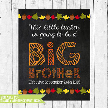 Thanksgiving Chalkboard Pregnancy Reveal // Pregnancy Announcement // Big Brother // Thanksgiving // PDF you edit with ADOBE READER