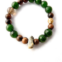 The Boho Bracelet. green jade, wood, smoky quartz and raw crystalline quartz statement bracelet. unique. designer gift for her.